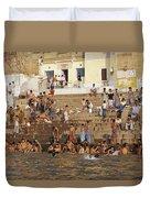 Men And Boys Bathe At An Ancient Ghat Duvet Cover