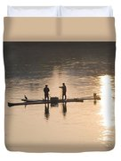 Men On A Raft Fishing Duvet Cover