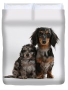 Merle Dachshund And Doxie Doddle Pup Duvet Cover