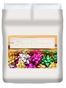 Merry Christmas Message With Colourful Bows Duvet Cover
