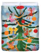 Merry Christmas Tree Fairies In Progress Duvet Cover