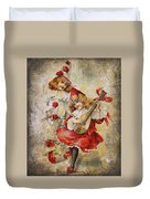 Merry Making Antique Girls In Red And White Grunge Duvet Cover