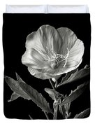 Mexican Evening Primrose In Black And White Duvet Cover