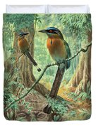 Mexican Motmots Are Perched On Jungle Duvet Cover