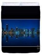 Miami Skyline Night Panorama Duvet Cover