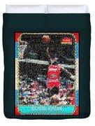 Michael Jordan Rookie Mosaic Duvet Cover by Paul Van Scott