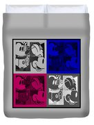 Mickey In Quad Colors Duvet Cover