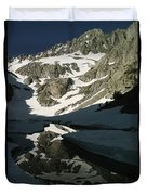 Middle Palisade Peak Reflects In Finger Duvet Cover