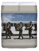 Midshipmen Carry Their Packs And Board Duvet Cover
