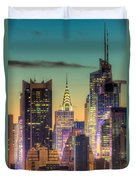 Midtown Buildings Morning Twilight Duvet Cover by Clarence Holmes