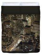 Midtown Manhattan Illuminated At Night Duvet Cover
