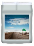 Milepost At The Dempster Highway Duvet Cover