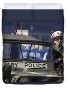 Military Policeman Stands Next Duvet Cover by Michael Wood