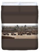 Military Vehicles Parked Outside Loy Duvet Cover