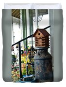 Milkcan And Birdhouse Duvet Cover