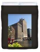 Milwaukee River And Skywalk Duvet Cover
