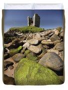 Minard Castle And Rocky Beach Minard Duvet Cover