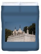 Minarets And Structure Of Pearl Mosque Inside Red Fort Duvet Cover