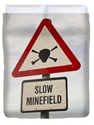 Minefield Road Sign Falkland Islands Duvet Cover
