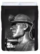 Miner Statue Monochrome Duvet Cover