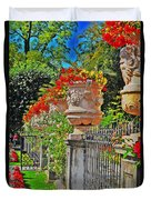 Mirabell Gardens In Salzburg Hdr Duvet Cover by Mary Machare