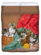 Mischievous Kittens Duvet Cover