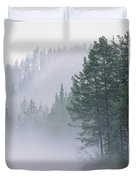 Mist Rises From An Evergreen Forest Duvet Cover
