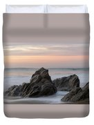 Mist Surrounding Rocks In The Ocean Duvet Cover