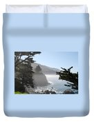 Misty Morning On The Big Sur Coastline Duvet Cover by Camilla Brattemark