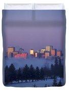 Misty Skyline, Edmonton, Alberta, Canada Duvet Cover