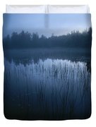 Misty View Of Taiga Forest Duvet Cover