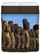 Moai Along The Coast Of Easter Island Duvet Cover