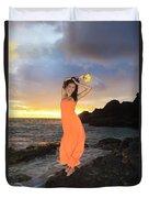 Model In Orange Dress Duvet Cover