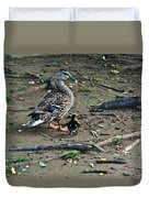 Mom And Duckling Duvet Cover