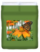 Monarch Butterfly On Tithonia Flower Duvet Cover