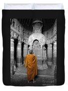 Monk At Ajanta Caves India Duvet Cover
