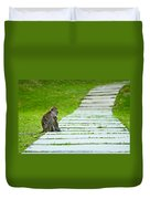 Monkey Mother With Baby Resting On A Walkway Duvet Cover