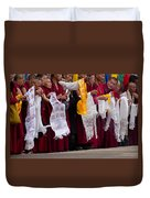 Monks Wait For The Dalai Lama Duvet Cover