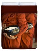 Monks With Rice Bowls, Inle Lake Duvet Cover