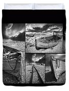 Montage Of Wrecked Boats Duvet Cover