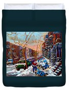 Montreal Hockey Paintings Duvet Cover