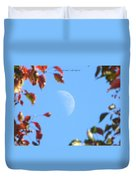 Moon Amidst Red Leaves Duvet Cover