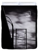 Moon Over Brooklyn Rooftop Duvet Cover