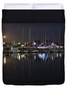 Moon Over The Marina Duvet Cover