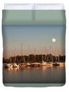 Moon Rises Over The Marina Duvet Cover