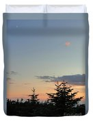 Moon Watching The Sunset In Acadia Duvet Cover