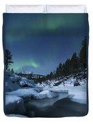 Moonlight And Aurora Over Tennevik Duvet Cover