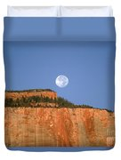 Moonrise Over East Temple - Zion  Duvet Cover