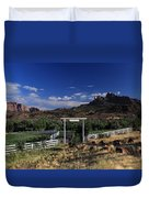 Moonrise Over Grand View Ranch Duvet Cover