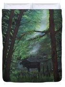 Moose In Pines Duvet Cover